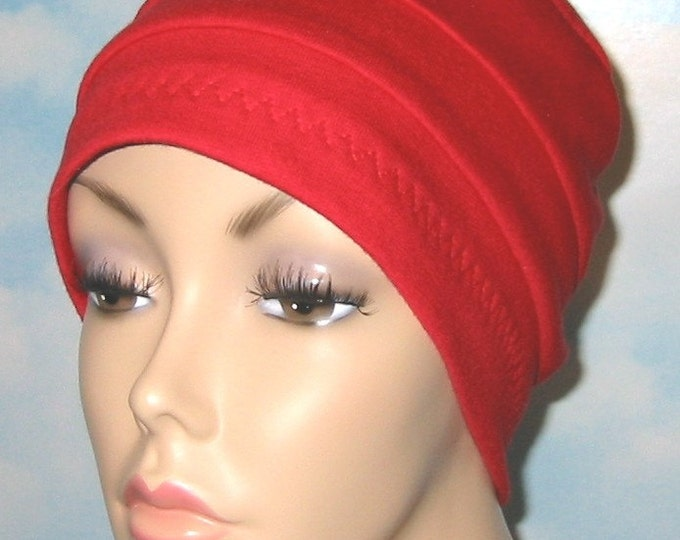 Featured listing image: 3-Band Red Chemo  Hat, Sleep Cap,  Alopecia, Modest Head Cover