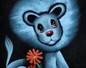 Black Velvet Lion Painting