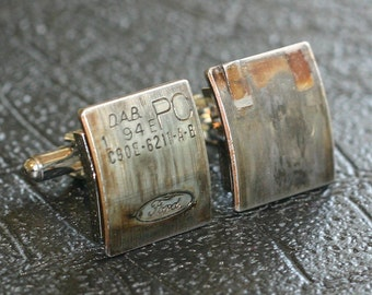 Ford Engine Part CUFFLINKS - with original stampings of logo and part numbers