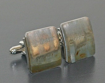 AUDI Car Engine Part CUFFLINKS - with stamped rings logo and specs.  Special cuff links box included.