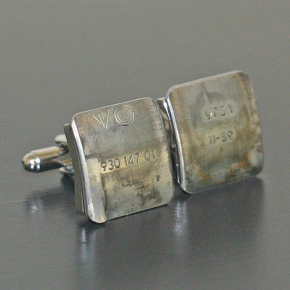 PORSCHE 911 Car Part CUFFLINKS - with stamped part numbers and logos.  Special cuff links box included.