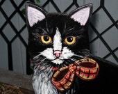Cat  Painting Scottish Wooden Cat Original Art