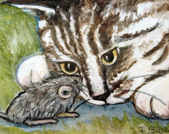 Cat Painting The Cat and the mouse, Mouse Trap, Original Painting, Birthday  Gift , Curious Cat.