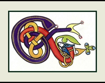 Celtic Art,  Zoomorphic Snake,  Painting of Celtic Initial  E,, Original Art. Book of Kells