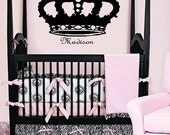 French Crown with Name Monogram Vinyl Wall Decal