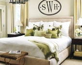 LARGE Monogram Oval with Initials vinyl wall art decal sticker