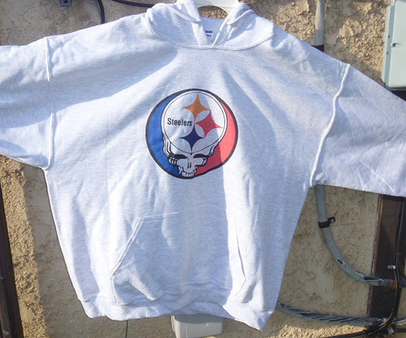 Steal Your Pittsburgh Steelers Grateful Dead Lot Style HOODIE   XL   Soft Grey SALE