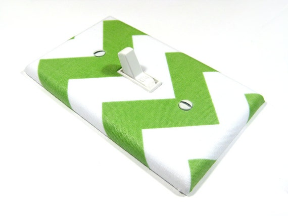 White and Green Chevron Decor Light Switch Plate Cover Home Decor Outlet Cover Switchplate