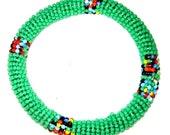 Sea Green beaded bangle by Kibera Jewelry