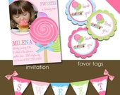 DIY Printable Party or Event Package. Sweet Shoppe COLLECTION. Customizable. Cupcake Toppers. Banner. Favor Tags. First Birthday. Any Age. Girl. Sweet. Candy Shop. Candyland.