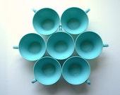 Set Of Seven Vintage Melmac Tea Cups - Turquoise