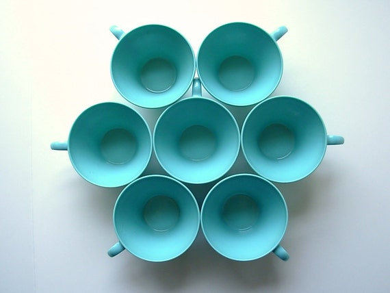 Set Of Seven Vintage Melmac Tea Cups - Turquoise