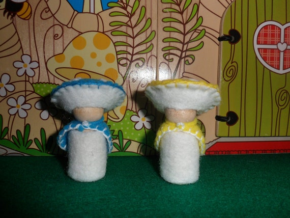 Adorable pair of Turquoise Blue and Bright Yellow Wool Waldorf Style Toadstool Mushroom Gnomes