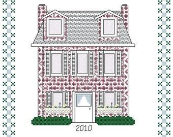 Loretta's Blackwork House - blackwork and cross stitch pattern