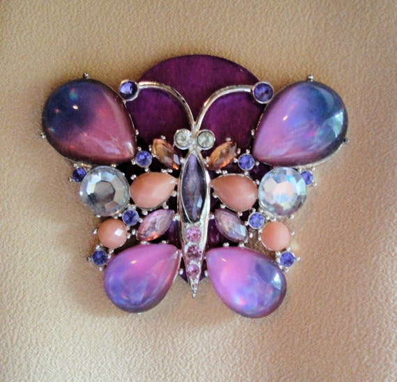 Vintage Brooch, very large and very colorful pink and purple butterfly from 1980s, Recycled, New magnetic back clasp for easy secure wear