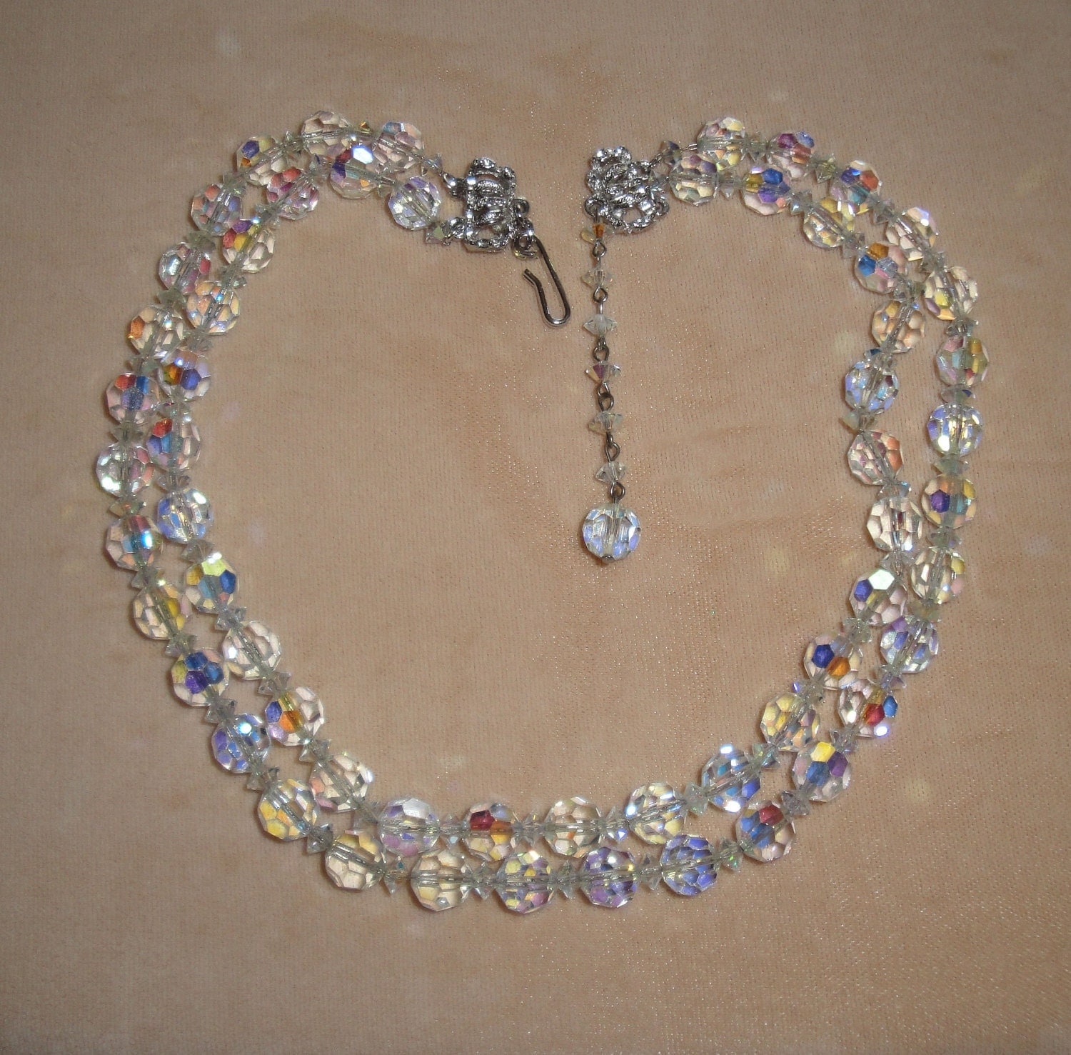 Vintage Necklace Hobe 1950s Era Clear Crystal By Mppdesigns
