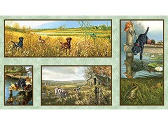 11 YARDS COUNTRY CANINES fabric noC1069 Clearance