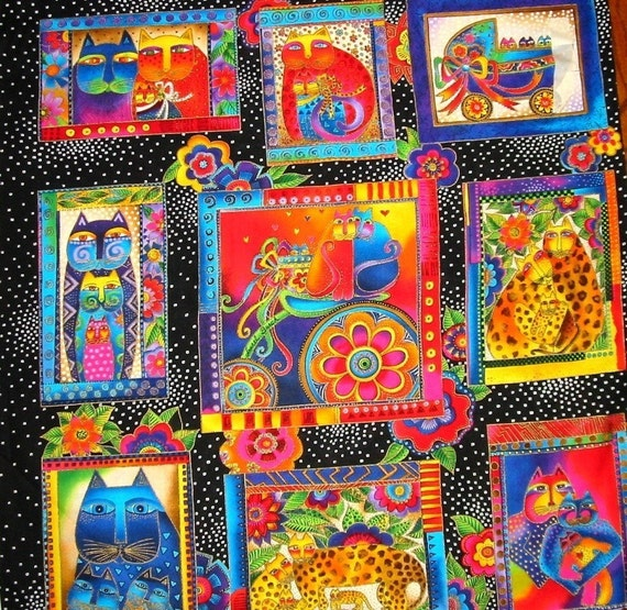 Laurel Burch Fanciful Feline Cats fabric TWO PANELS noC320