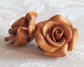 Gold Rose Drop Earrings - Handmade Polymer Clay Rose Earrings - Gold Dangle Rose Earrings - Bridal Rose Earrings - Gold Flower Earrings