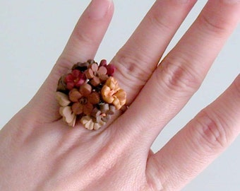 Autumn Flower Ring - Handcrafted Polymer Clay Flower Ring - Statement Ring