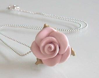Handcrafted Rose Necklace - Soft Lavender Rose Necklace - Handmade Polymer Clay Rose Necklace - Shabby Chic Necklace - Pastel Rose Necklace