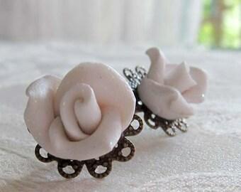 White Rose Glitter Earrings - Winter White Earrings -Sparkle Rose Earrings - Polymer Clay Rose Earrings