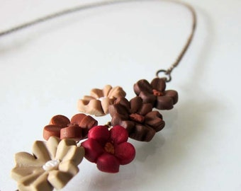Autumn Flower Necklace - Handmade Polymer Clay Flower Necklace - Autumn Jewelry - Brown Jewelry - Brown Bridal Necklace