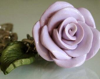 Purple Rose Bag Charm - Rose Keychain - Polymer Clay