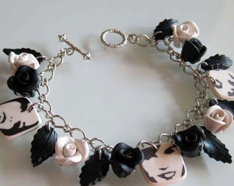 Silhouette Retro Rose Charm Bracelet, Handmade Polymer Clay Rose Bracelet, Black & White Rose Bracelet, Black and White Flower Jewelry