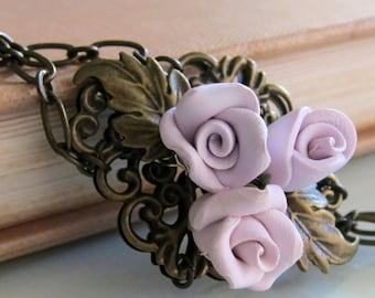 Antique Bronze Vintage Style Purple Rose Bracelet, Handmade Polymer Clay Rose Bracelet, Purple Bracelet, Purple Rose Jewelry, Purple Bridal