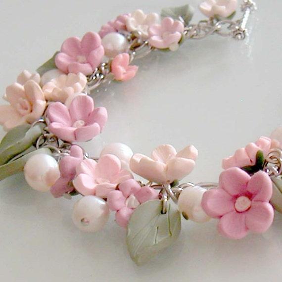 Cherry Blossom Garden Bracelet - Polymer Clay