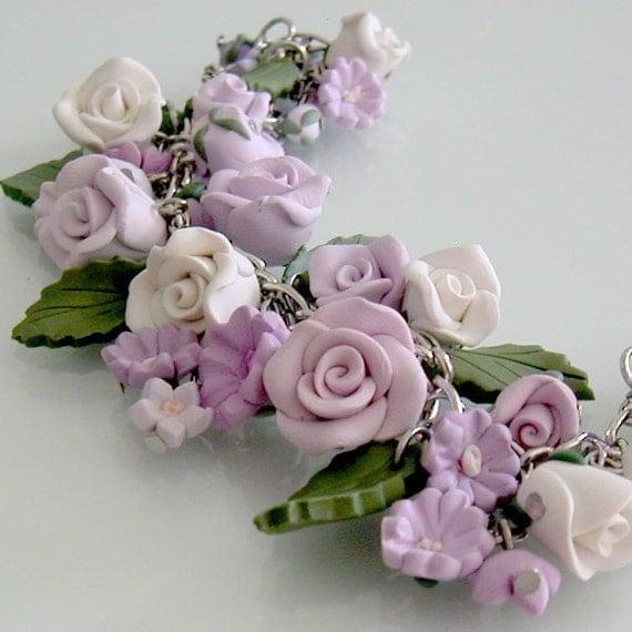Lavender Passion Rose Charm Bracelet - Polymer Clay