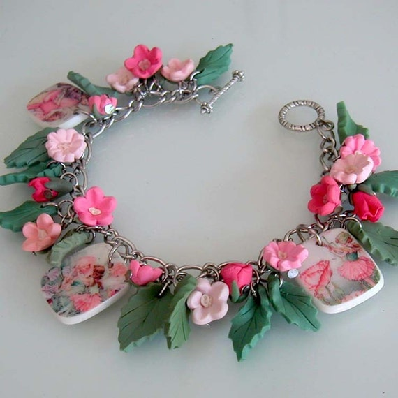 Flower Fairy Charm Bracelet - Polymer Clay