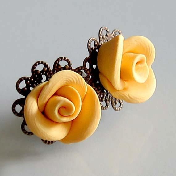 Yellow Rosebud Stud Earrings - Hand Sculpture Polymer Clay Rose Earrings - Yellow Rose Earrings - Flower Filigree Earrings