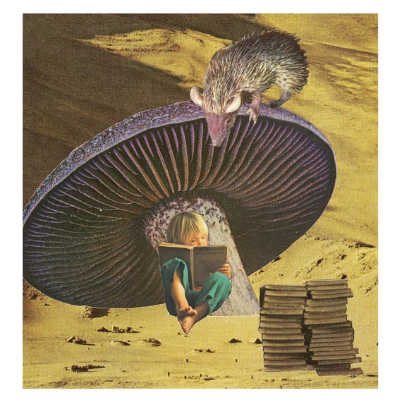 early on she'd learned the art of escape - 8X8 collage fairy tale art print