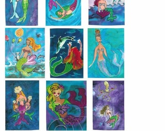 Mermaid Cards - Boxed Set of 10 Assorted Cards