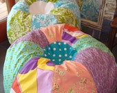 FUN shabby chic cottage style pastel multiple prints bean bag chair