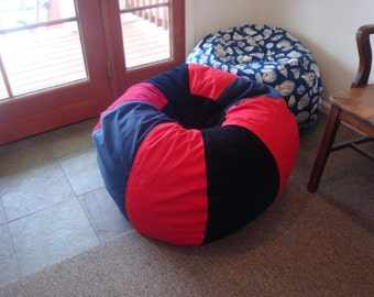Sporty Red and Blue Bean Bag chair classic and cool UNFILLED