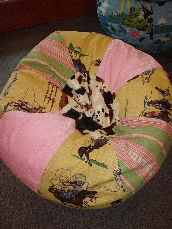 Cowgirl Bean Bag Chair With Pink And Green By Paniolo On Etsy