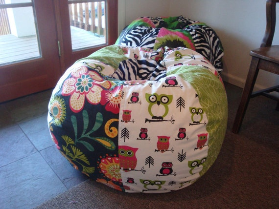 Funky Retro Owls Floral And Zebra Bean Bag Chair