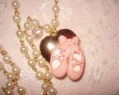 Ballerina Slippers Faux Pearl Necklace RESERVED FOR MELANNE8