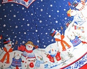 SUPPLY Item One Panel of Cotton Printed Fabric Panel Christmas Snowmen Tree Skirt Sew Your Own