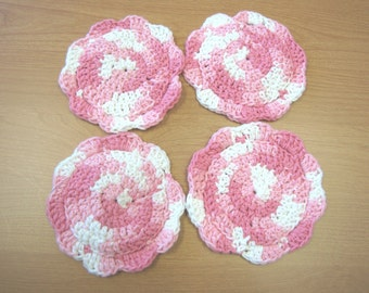 Pink Cotton Crocheted Coasters