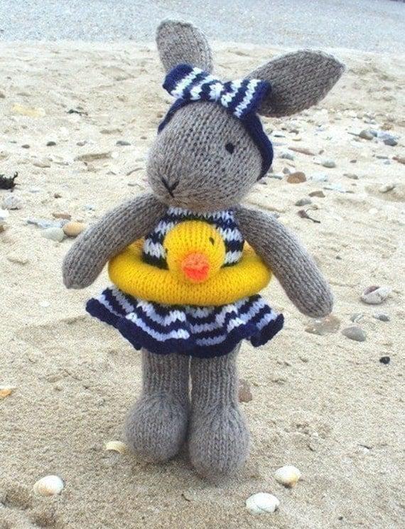 Bunny Rabbit Knitting Pattern : BUNTY BUNNY RABBIT GOES SWIMMING pdf email knitting pattern by
