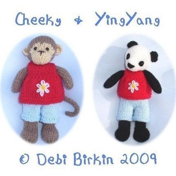 POCKET PALS monkey panda bear pdf email knitting pattern by