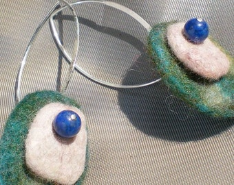 Flat Pebble earrings. Textile felted jewelry with lapis lazuli. Sterling silver.