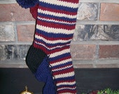 Old Fashioned Hand Knit Rustic Americana Series Red Antique White Blue Christmas Stocking