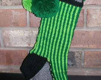 Old Fashioned Hand Knit Vertical Striped Christmas Stocking in Lime and Paddy Green with Fir Tree Detail