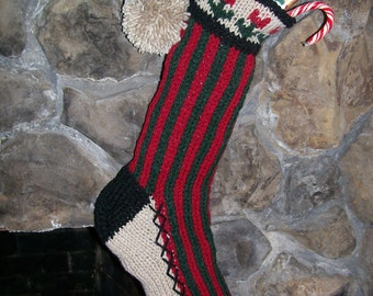 Old Fashioned Hand Knit Rustic Series Chrsitmas Stocking in Green Red Bold Vertcial Candy Cane Stripe with Flower Detail