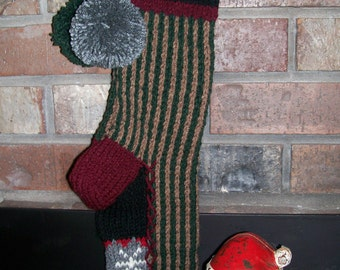 Old Fashioned Hand Knit Vertical Stripe Rustic Series Christmas Stocking with Snowflake Fancy Border Detail